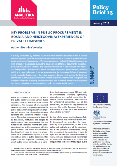 Key Problems in Public Procurement in Bosnia and Herzegovina